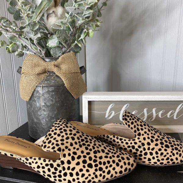 Cheetah Low Wedge Mules