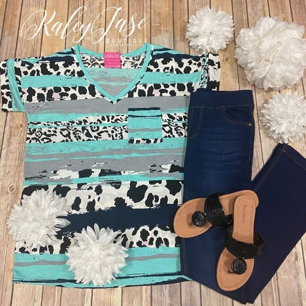 SIL Mint Navy Mixed Animal Striped Pocket Top
