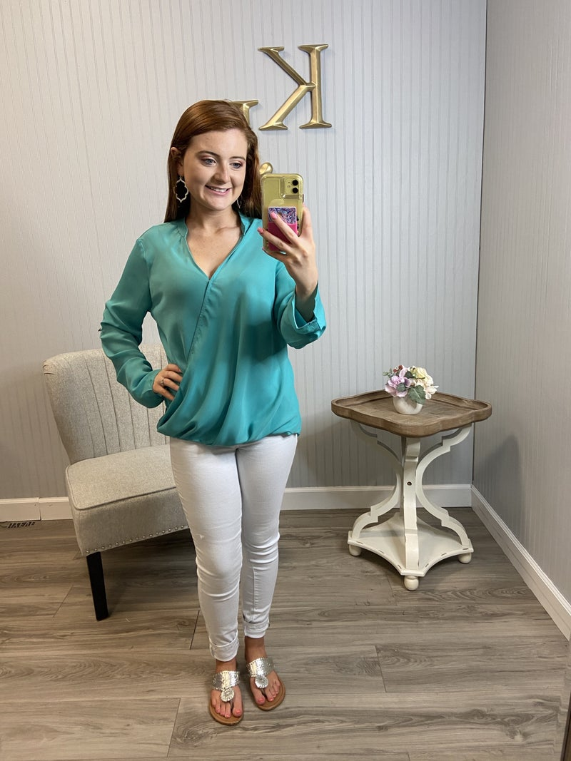Mint Oyerlay Drapped Dressy Top