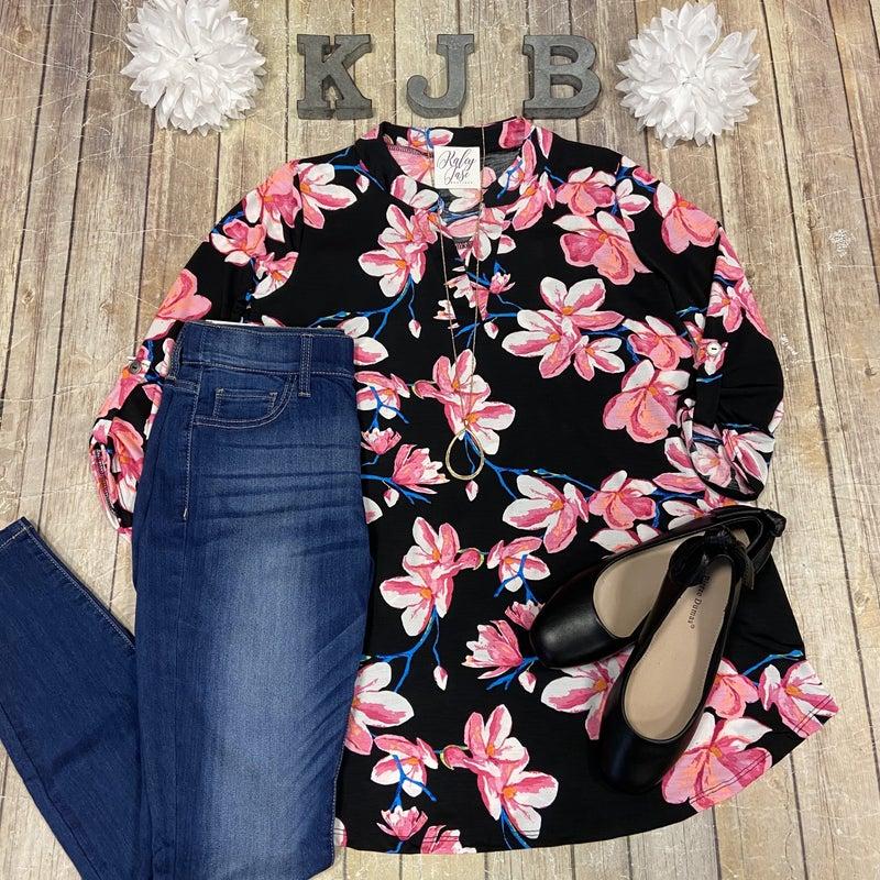 SIL Black Fuchsia Floral Gabby Top