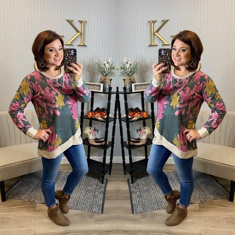 Charcoal Magenta Raglan Sweatshirt
