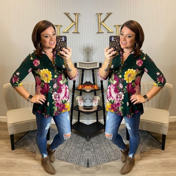 HM Green Pink Floral Gabby Top
