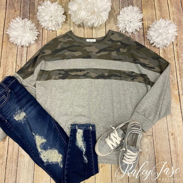 Camo Stripe Colorblock Sweatshirt