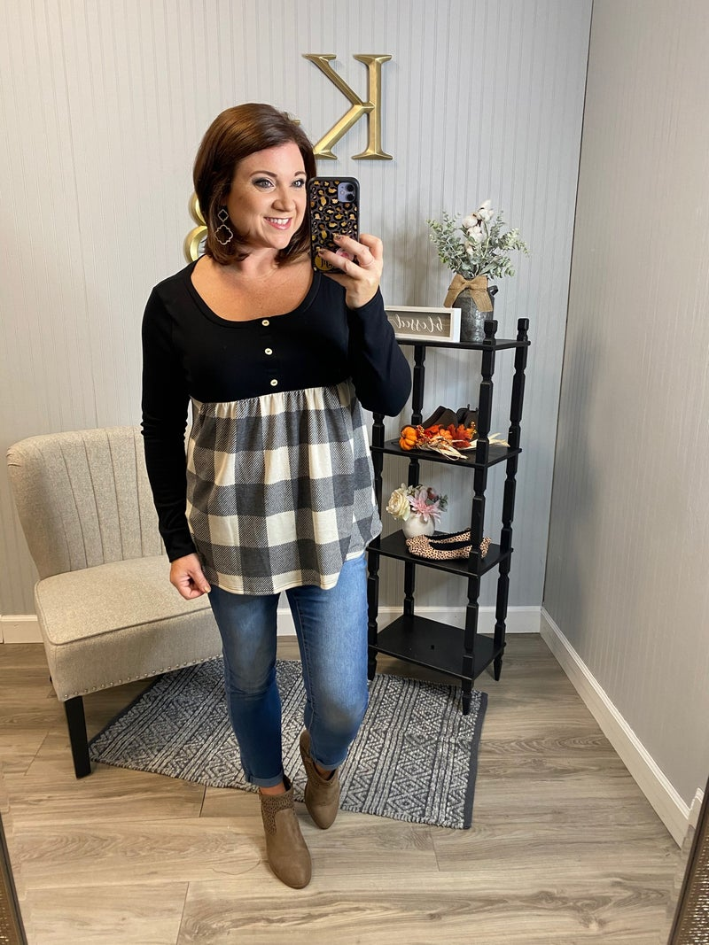 SIL Buffalo Plaid Button Front Babydoll Top