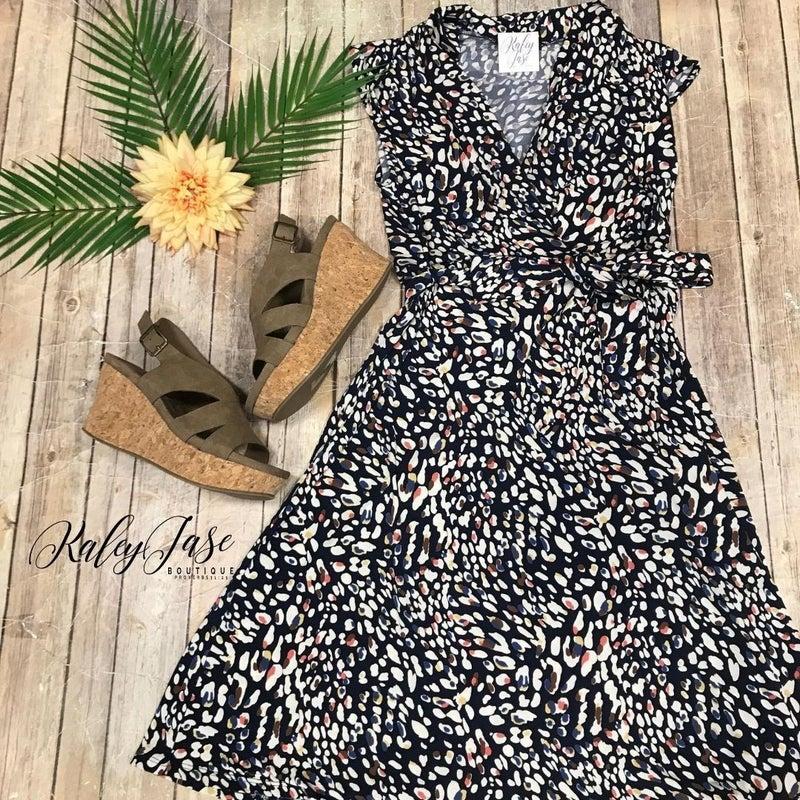 Navy Spotted Sleeveless Dress