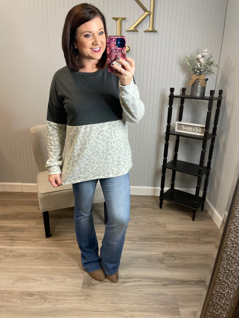 SIL Charcoal Half Brushed Leopard Top