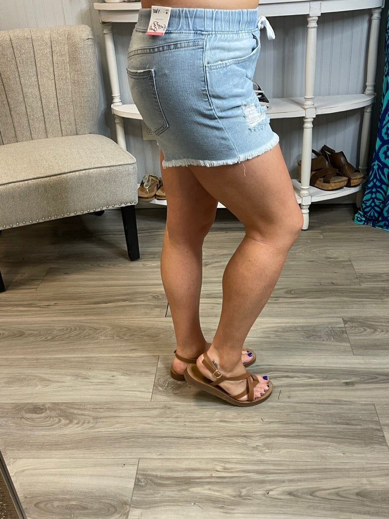 YMI Light Wash Frey Distressed Pull On Shorts