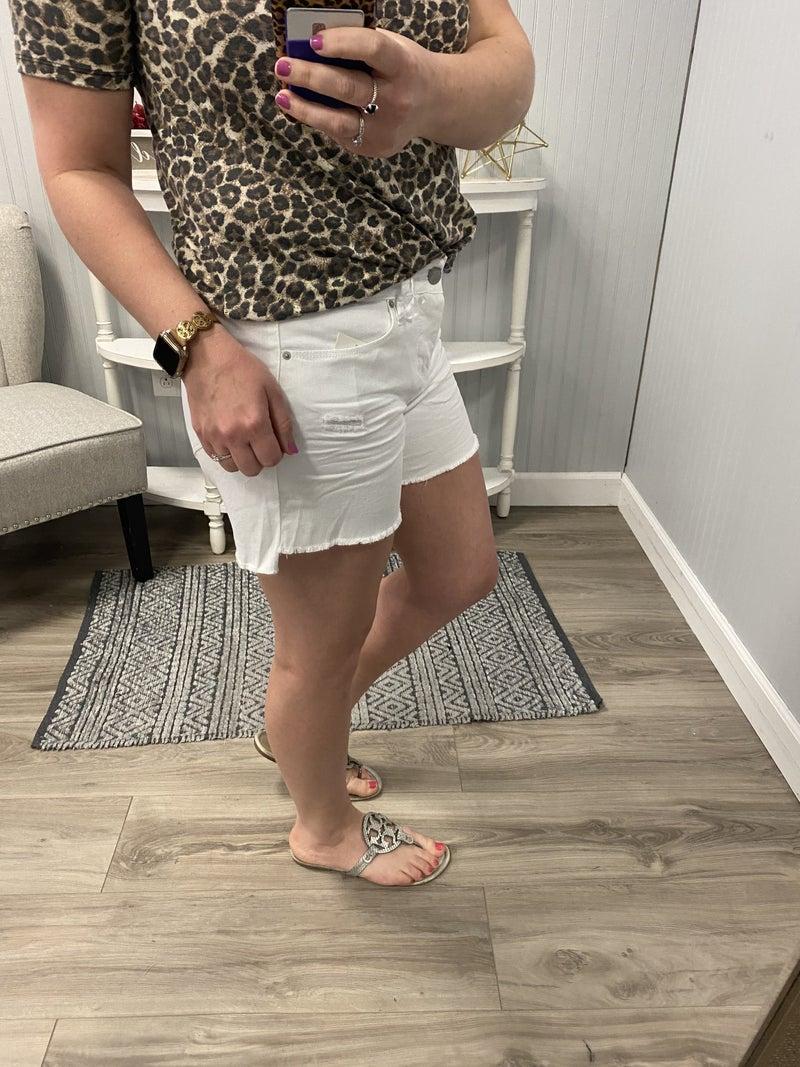Royalty White Mid Rise Frey Shorts