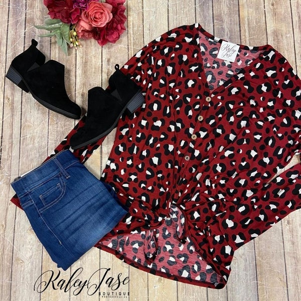 Wine Leopard Button Down Top