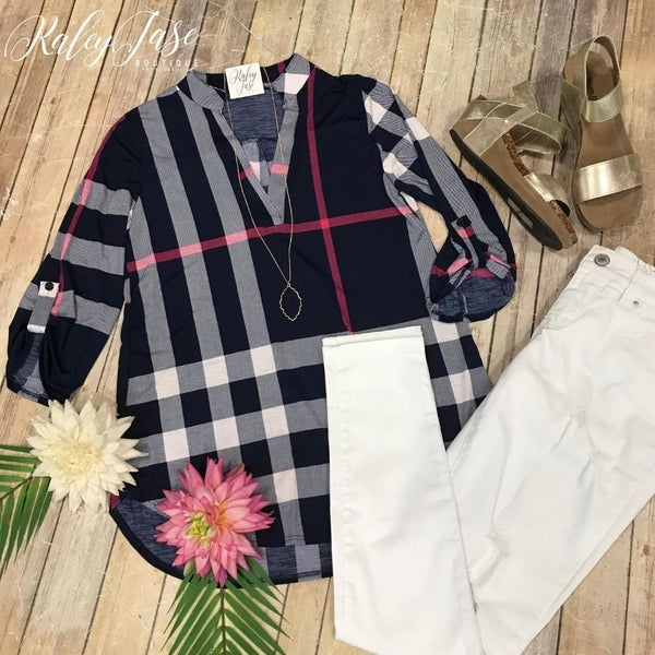 Navy Fuchsia Plaid Vera Top
