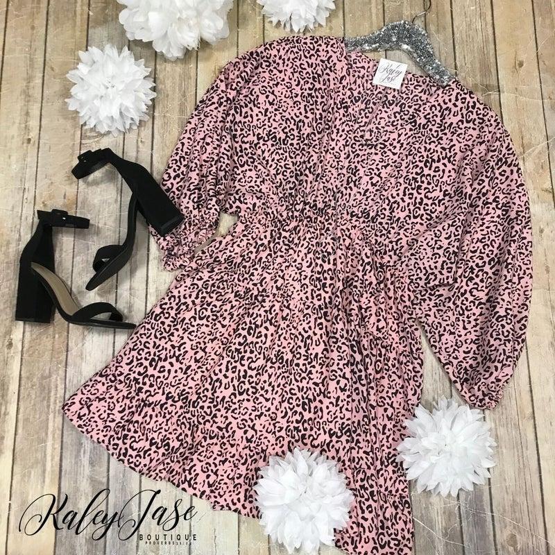 Blush Leopard Tiered Dress