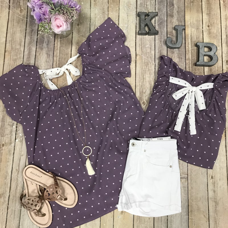 Lavender Dot Off Shoulder Bow Back