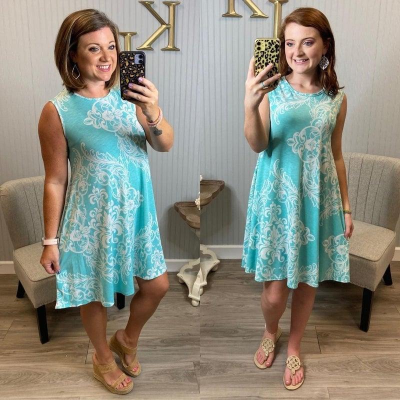 Mint Sleeveless Paisley Design Dress