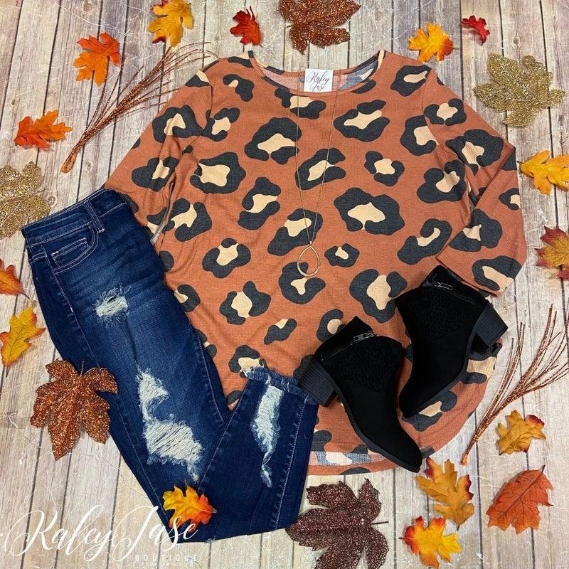 Modern Rust Leopard Knit Top