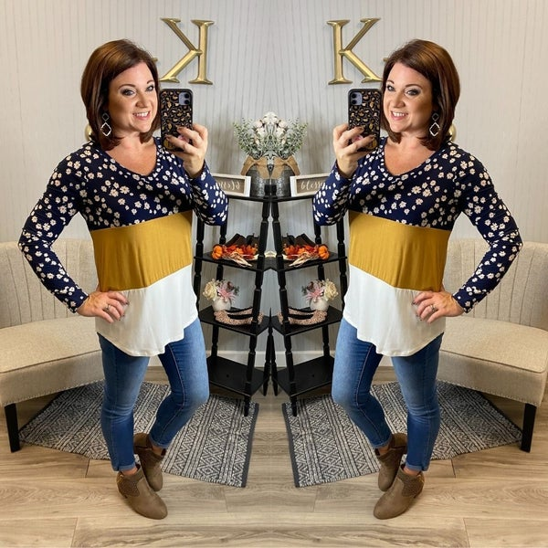 SIL Mustard Floral Colorblock Top