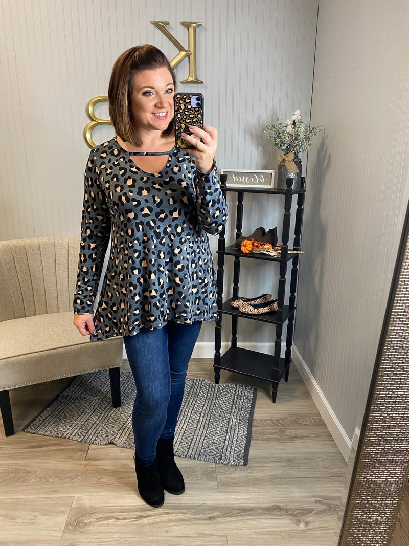 Charcoal Leopard Keyhole Top