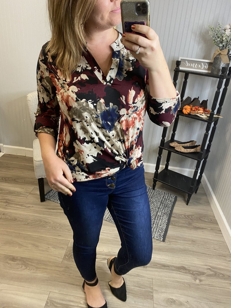 SIL Painted Fall Floral Gabby Top