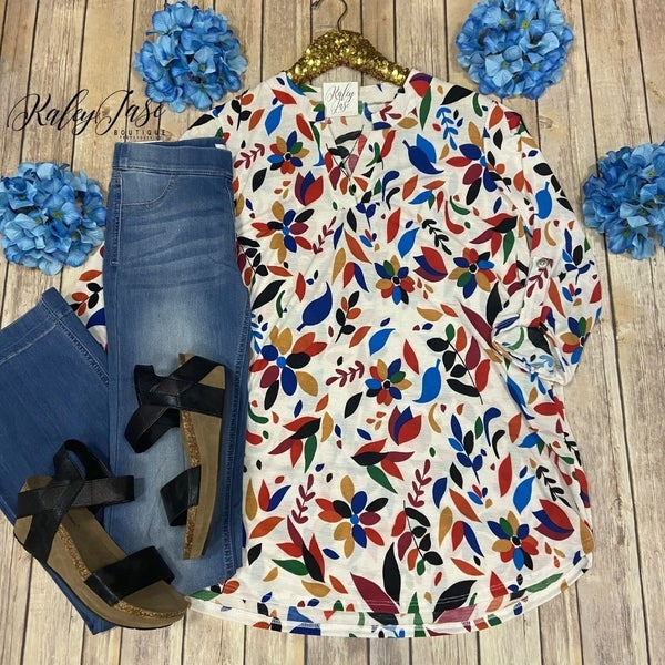 SIL Ivory Colorful Leaf Gabby Top