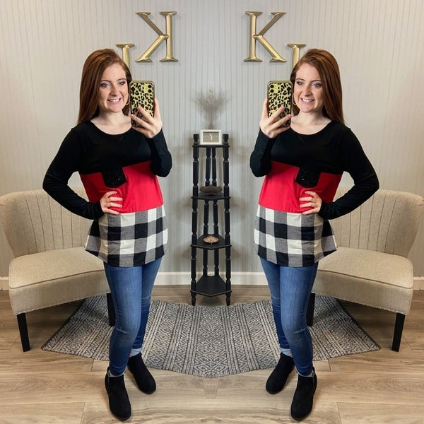 Red Plaid Colorblock Sequin Pocket Top