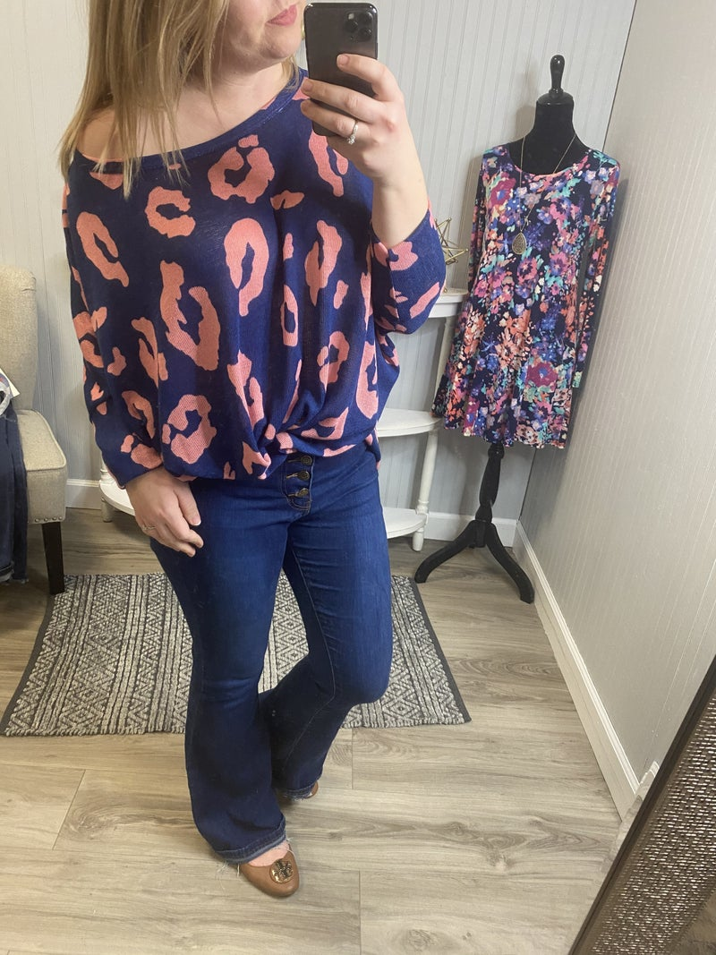 HM Navy Pink Leopard Oversized Top