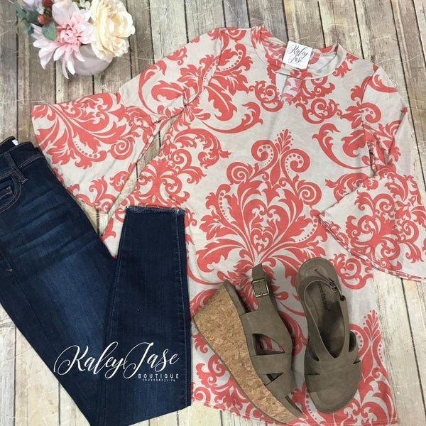 Taupe Coral Keyhole Damask Ruffle Top