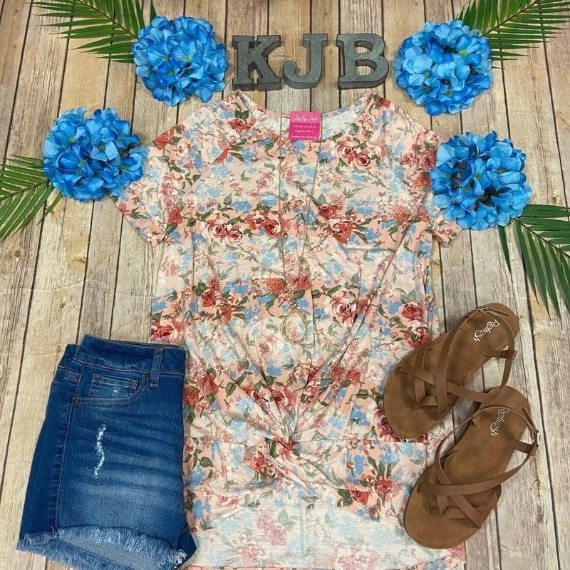 Deal Blush Blue Floral Twist Top