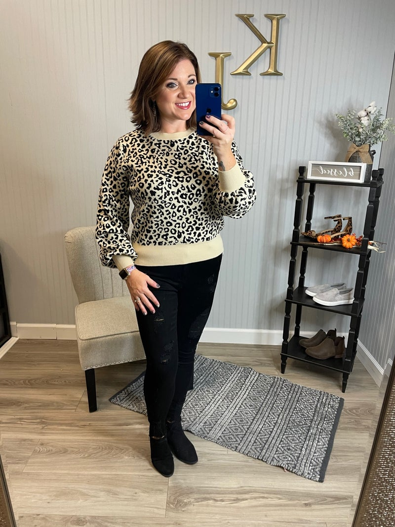 Ivory Leopard Balloon Sleeve Sweater