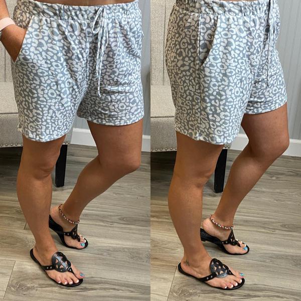 Grey Leopard PJ Shorts