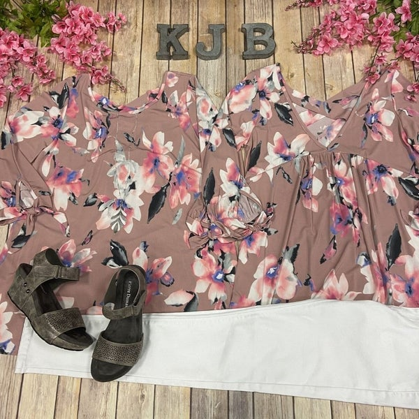 VB Mauve Floral Bow Sleeve Top