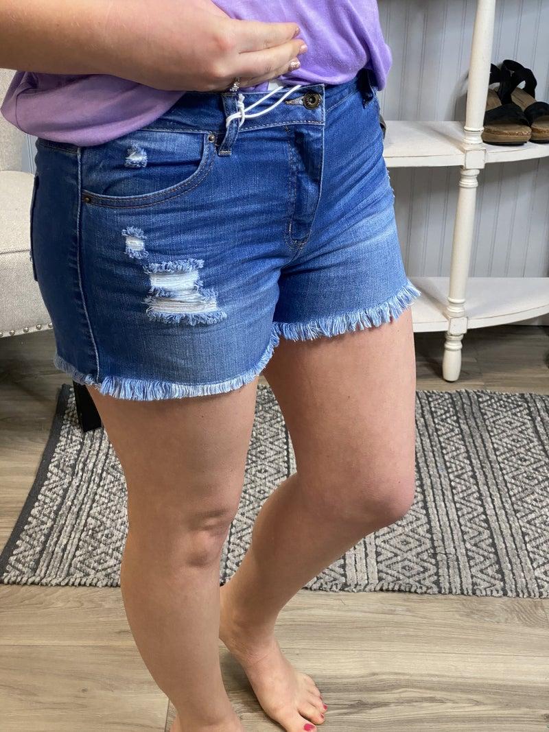 WX Medium Wash Frayed Denim Shorts