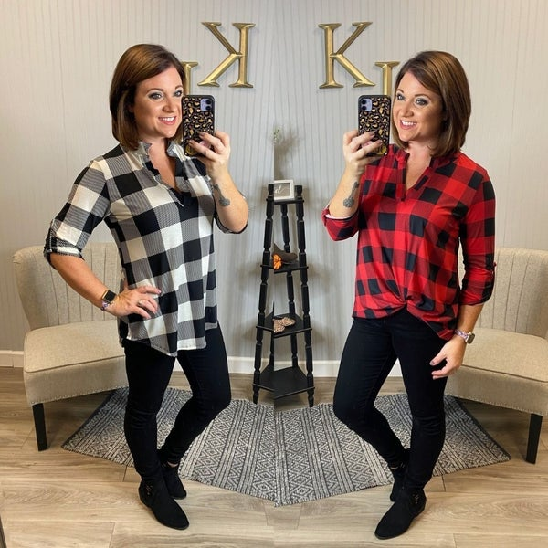 SIL Soft Plaid Gabby Top
