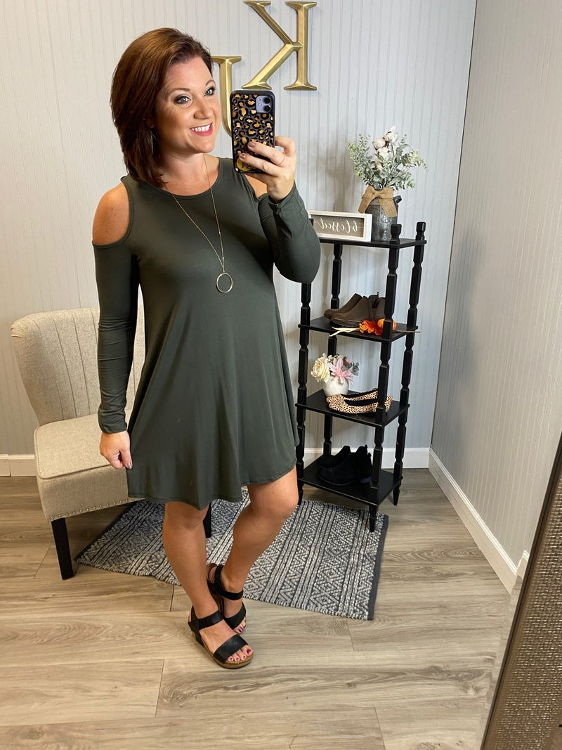 Olive Open Shoulder Swing Dress