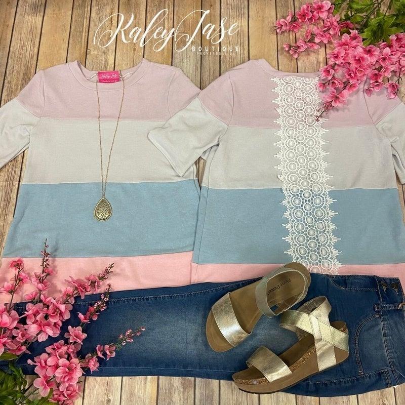 Lavender Colorblock Lace Crochet Detail Top