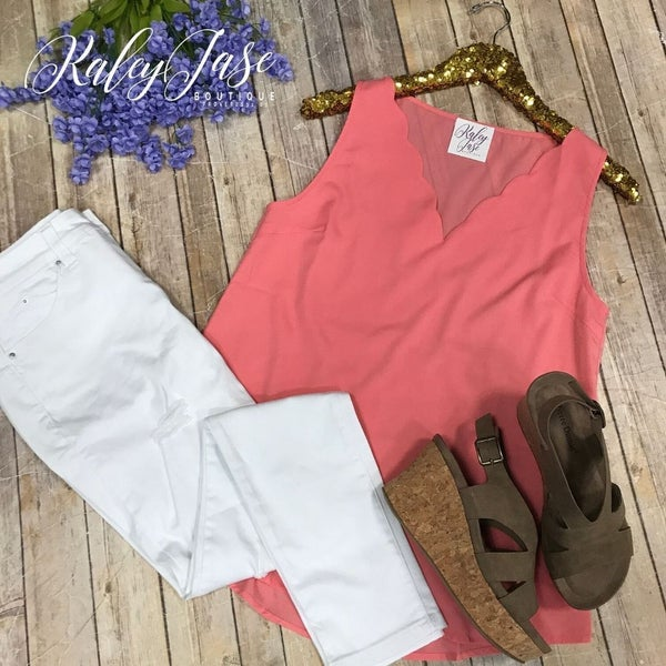 Coral Accented Vneck Tank