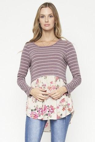 Lavender Stripe and Floral  Bottom LS Top