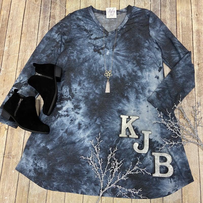 Navy Charcoal TIe Dye LS Dress