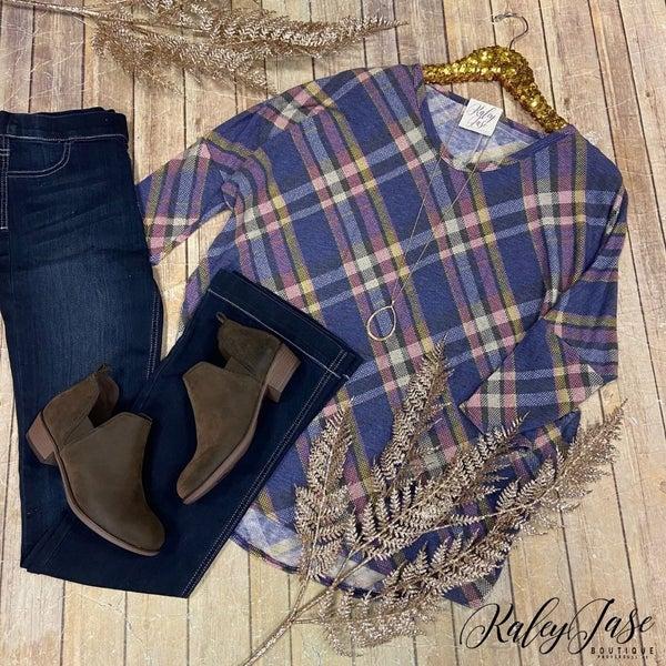 Plaid Knit Dolman Top