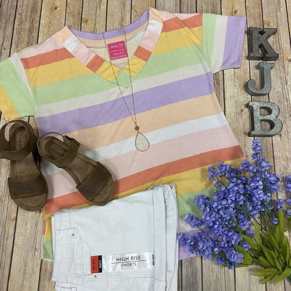 Multi Color Thick Vneck Top