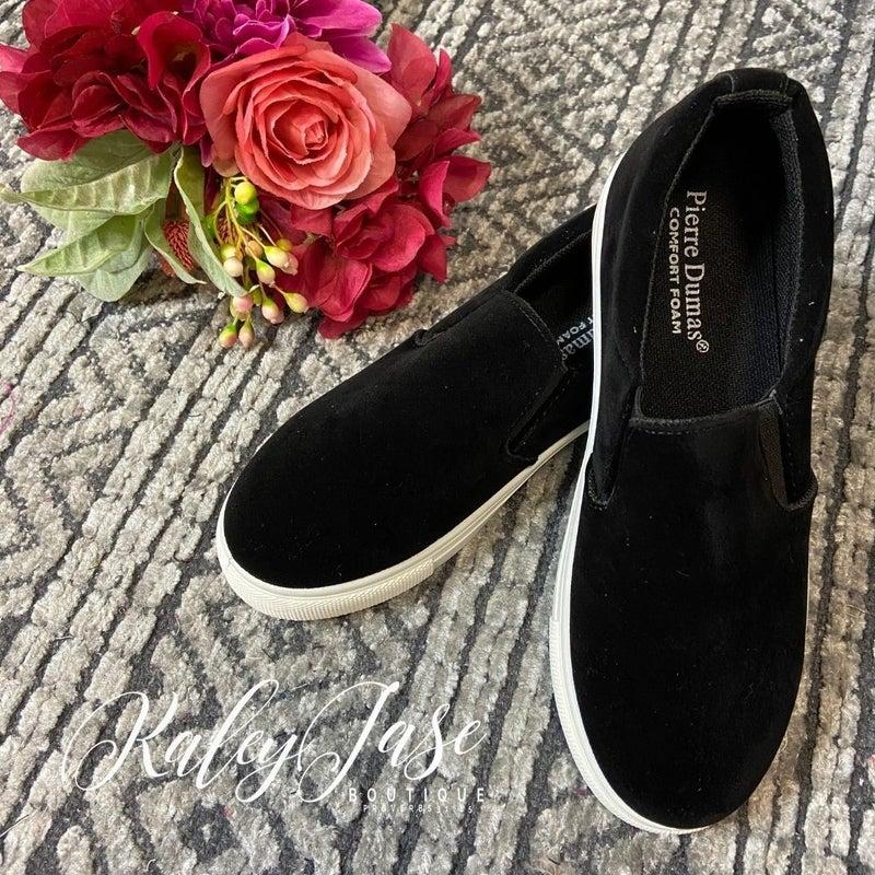 Black Suede Slide On Sneakers