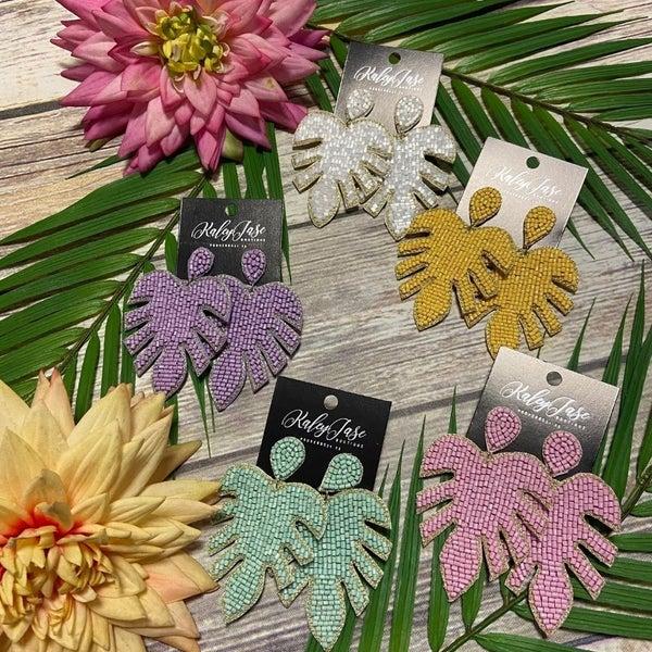 Palm Leaf Beaded Earrings