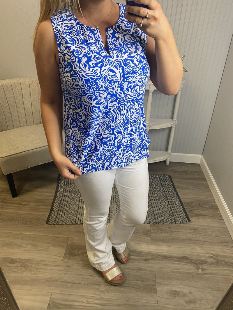 Aryeh Royal & Ivory Patterned Tank