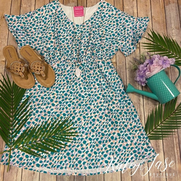 Jade/Lavender Patterned Babydoll Ruffle Sleeve Dress