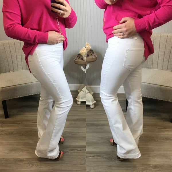 Cello White Flare Pull On Jeans