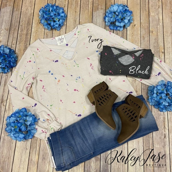 WB Splatter Criss Cross Top