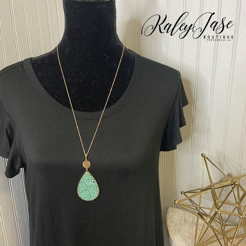Beaded Drop Pendant Necklace #34