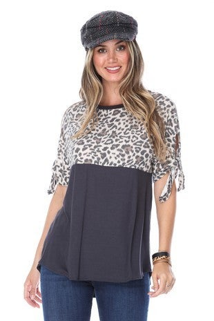 Charcoal Leopard Bow Sleeve Top
