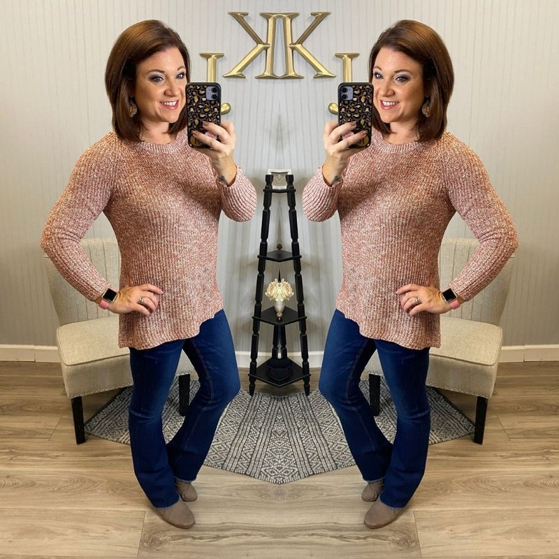 Rust 2 Toned Knitted Sweater