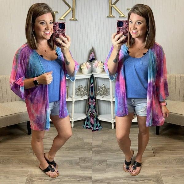 Fuchsia Blue Purple Tie Dye Sheer Kimono