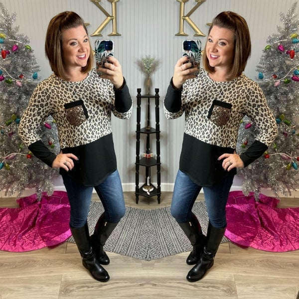 Leopard Half Sequin Double Pocket Top