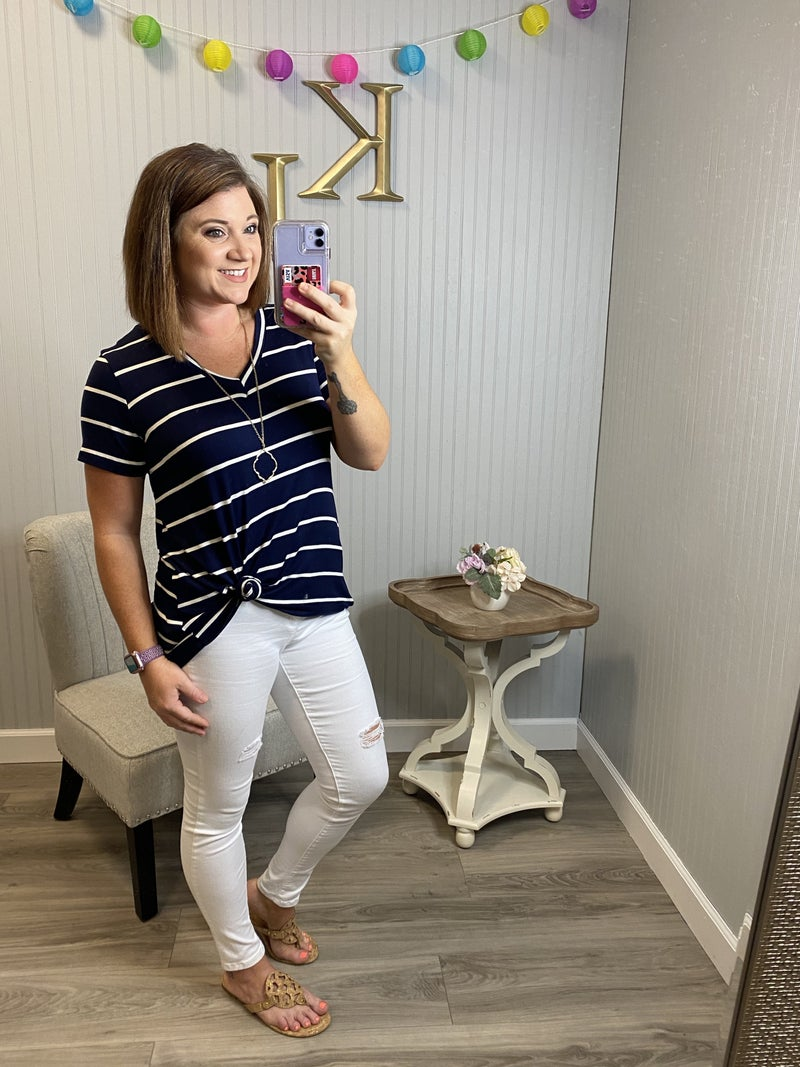Navy White Casual Vneck Top